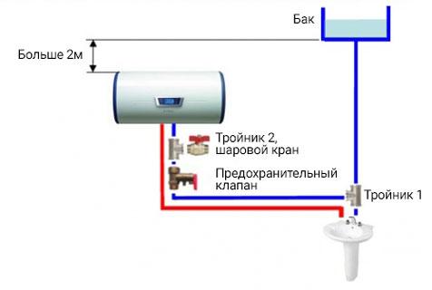 схема подключения водонагревателя для автономного водоснабжения с клапаном